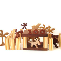 Miniature Zoo Waldorf Wood Toy Play Set 41 Pieces Zoo Animal Toys
