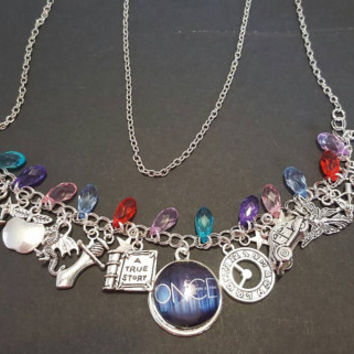 Once upon a time themed tibetan silver charm necklace
