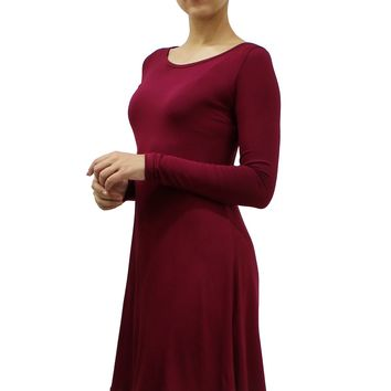 Long Sleeve Round Neck Midi Stretchy Loose Fit T-Shirt Dress