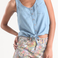 Kirra Chambray Tie Front Tank at PacSun.com