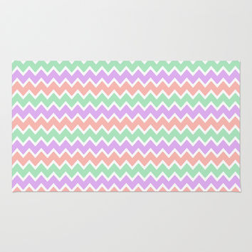 Coral Peach Pink and Lavender and Mint Green Chevron Area & Throw Rug by decampstudios