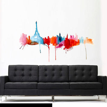 Full Color Wall Decal Mural Sticker Decor Art Beautyfull Cute Paris Skyline Landscape Eiffel Tower Art Water paint (col610)
