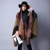Women's Winter Poncho Vintage Blanket Lady Knit Shawl Cape Cashmere Classic plaid style super thick warm scarf