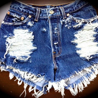 GHOST High waist destroyed denim shorts super frayed  size Sm/Med/Lg