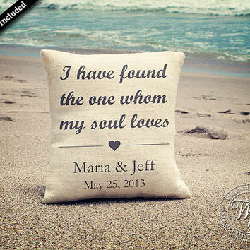 Personalized Wedding Gift / Bridal Shower Gift / Anniversary Gift / Newlywed Gift - Burlap Pillow