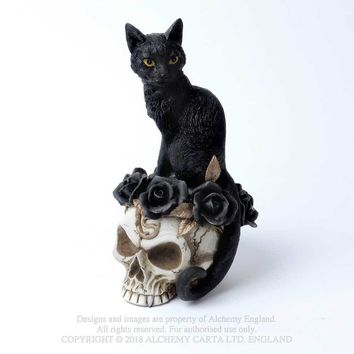 Alchemy Gothic Grimalkin's Ghost Desk Ornament Black Kitty Cat on Skull