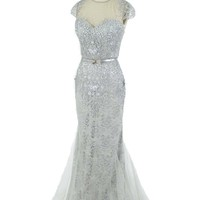 1930's Style Embroidered Silver Lace and Tulle Gown