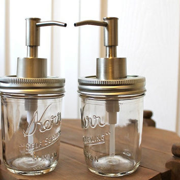 "Valentine's Gift Set of Two - Mason Jar Soap Dispensers (8oz) ""Margaret"" Jars"