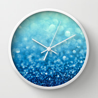 Tell Me True...Ocean Blue Wall Clock by Lisa Argyropoulos