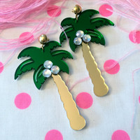 Mirrored Acrylic Laser Cut Palm Tree Earrings