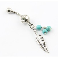 316L Surgical Steel 14G Leaf Dangle With Blue Beads Navel Belly Button Ring Barbell+Belly Retainer