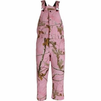 C.E. Schmidt Girls' Quilt-Lined Insulated Bib Overall, Pink Realtree Camouflage