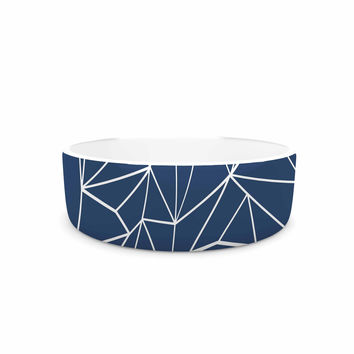 "Project M ""Abstraction Outline Navy"" Blue Abstract Pet Bowl"