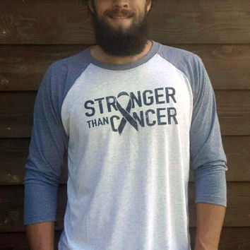 """Stronger Than Cancer"" Tri-Blend 3/4 Length Tee"