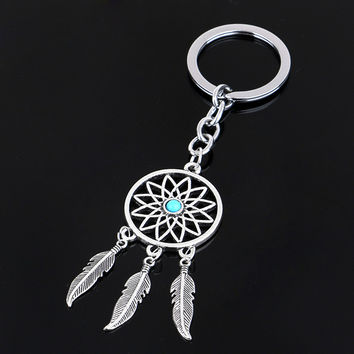 Dream Catcher  SilverTone Feather Tassels Keychain