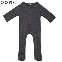 COSPOT Baby Boys Girls Romper Newborn Autumn Plain Black Red Pajamas Jumper Infant Baby Cotton Jumpsuit 2017 New Arrival 25F