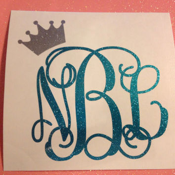 Princess vine monogram decal glitter vinyl car decal choose your size
