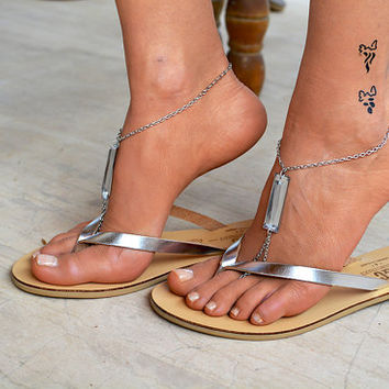Leather women flip flops, leather sandals, V strap sandals, thong sandals, boho sandals, silver sandals