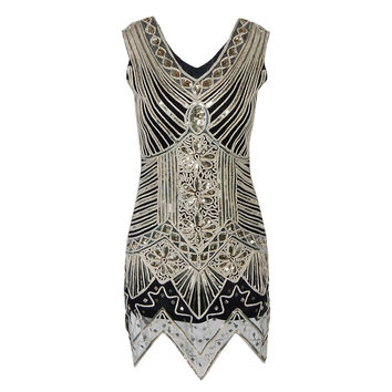 Women's 1920s Dance Dress Shining Flapper Dress 1920s Vintage Gatsby Great Gatsby Charleston Sequin Tassel Party Sequins Dress