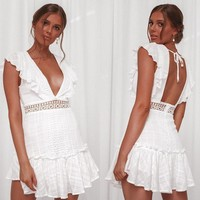 Ordifree 2019 Summer Women White Lace Ruffle Mini Dress Sundress Crochet Sexy Backless Short Tunic Beach Dress