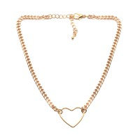 Open Heart Cuban Chain Choker Necklace