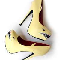 SHARK SPIKES Hand Painted High Heel Pumps - Shark Shoes