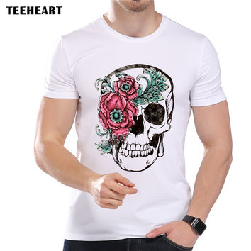 Men's Skull Flower Fashion T-Shirt Short Sleeve O-Neck Modal Sugar Skull Mexican Art Top Tees