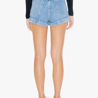 Denim High-Waist Cuff Short | American Apparel