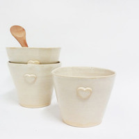 White ceramic cups  , Pottery small mugs , Hand made ceramic talebearer, White clay cups, Set of ceramic mugs