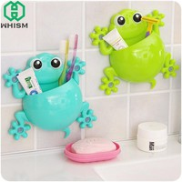 WHISM Creative Cartoon Sucker Gecko Toothbrush Holder Wall Suction Toothpaste Makeup Brush Comb Container Holder Bathroom Sets