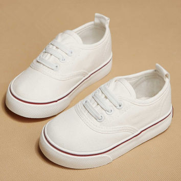 Children canvas shoes kids shoes for girl white sneakers 2017 spring autumn Children shoes fashion sneaker single baby shoes