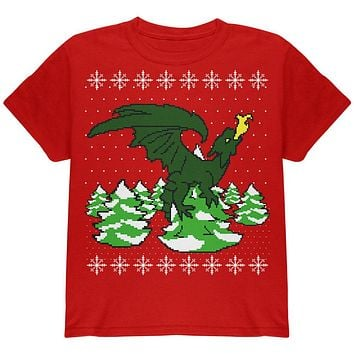 Ugly Christmas Sweater Dragon Winter Youth T Shirt