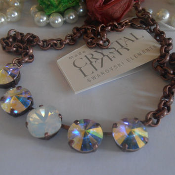 Aurora Borealis and White Opal 12mm Swarovski Cushion Cut/Rivoli Crystals in Antique Copper Thick Rolo Chain Tennis Necklace Pendant