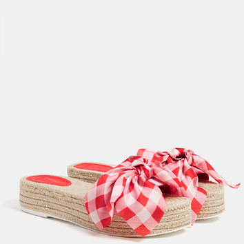 Jute platform sandals with a bow - New - Bershka United States
