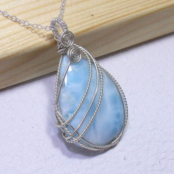 Teardrop Larimar Silver Pendant Necklace, Sterling Silevr Wire Wrapped Jewlery