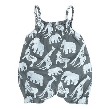 2018 Newborn Baby Rompers Fashion Cotton Animal Printed Sleeveless Sunspender Summer Baby Romper Kids Girl Clothes Jumpsuit