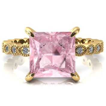 Lizette Princess Pink Sapphire 4 Claw Prong 3/4 Eternity Milgrain Diamond Shank Engagement Ring