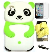 BUKIT CELL GREEN Cute Panda 3D Cartoon Soft Silicone Gel Skin Case Cover + Free Screen Protector + Free METALLIC Detachable Touch Screen STYLUS PEN with Anti Dust Plug