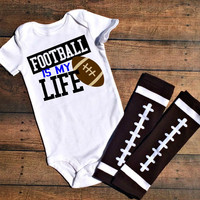 football boy clothes, football is my life bodysuit, football baby shower gift, fall baby clothes, custom football baby outfits, baby boy