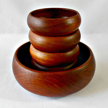 Mid Century Goodwood Teak Wood Salad Set, Danish Modern Eames Era Teak Bowls, 5 pc Solid Teak Serving Bowls, Wood Bowl Set, Salad Bowls