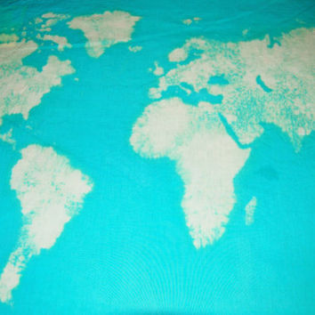 World Map Wall Tapestry Bleached Aqua (Atlas Map)
