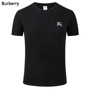 Burberry New fashion bust side war horse print couple top t-shirt Black