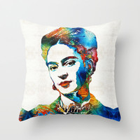 Frida Kahlo Art - Viva La Frida - By Sharon Cummings Throw Pillow by Sharon Cummings