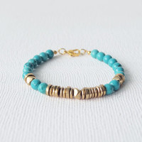 Stack Bracelet : Summer Jewelry - Turquoise with Mix Brass Beaded