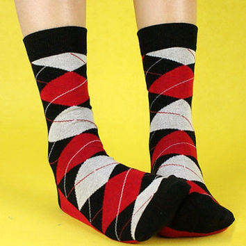 Red and Black Argyle Socks. Argyle Socks. Mens Dress Socks. Mens Socks. Diamond Socks. Red Socks. Black Socks. White Socks. Mens Funny Socks