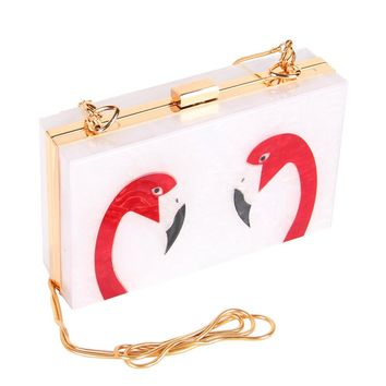 Acrylic Clutch Box Women's Evening Bag Wedding Bag Flamingo Printing Ladies Shoulder Bag Chain Handbag Silver Color 18x11x4.5cm