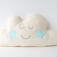 Large Happy Cloud Cushion/Pillow - Mint Cheeks