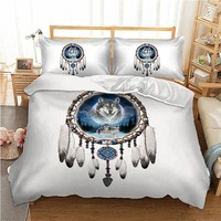 3pcs/lot Double Bed Sheets Boho Dream Catcher Printed Bed Mattresses Bedding Set Bohemian Duvet Cover Set Pillowcase Queen King