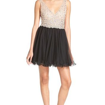 Junior Women's Blondie Nites 'Ariana' Beaded Skater Dress,