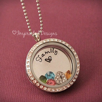 Family Living Locket Necklace / Memory Locket / Floating Charm Locket